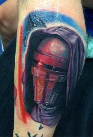 腿部彩色星球大战士兵纹身图案