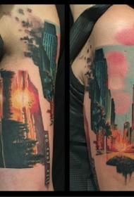 肩部如画的彩色大城市景观纹身图案