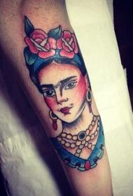 腿部老派风格的彩色女子肖像纹身