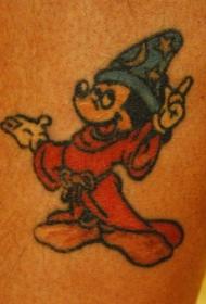 腿部彩色卡通米奇老鼠纹身图片