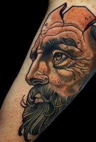 插画风格手臂彩色男子肖像纹身图案