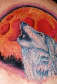 肩部彩色Wolf tattoo狼与月亮纹身