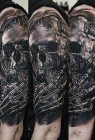 肩部黑白金属骷髅骨架纹身图案
