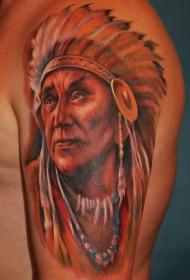 肩部彩色逼真的印度人肖像纹身图案