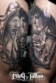 现代风格的黑灰美女与玫瑰纹身图案