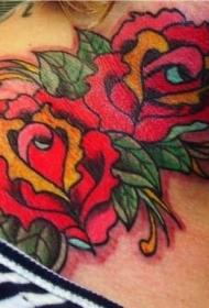 颈部彩色old school玫瑰纹身图片