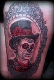 老派风格的彩色骷髅人物纹身图案
