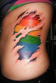 男性腰侧彩虹下皮肤撕裂纹身图案