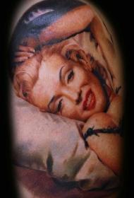 肩部彩色照片欧美女子写实纹身图案