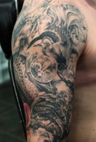 肩部棕色龙怪物武士纹身图案