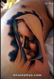 腰侧现代风格的彩色圣女肖像纹身