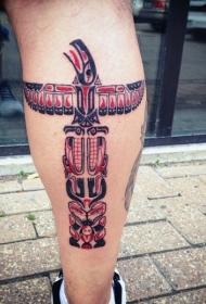 腿部彩色大部落雕像纹身图片