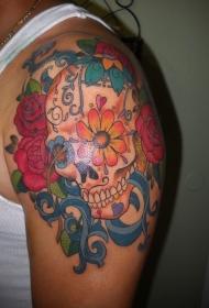 肩部彩色花朵sugar骷髅头纹身图案