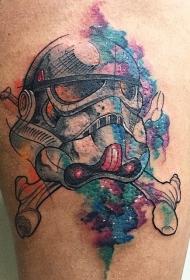 腿部水彩兵头盔纹身图案