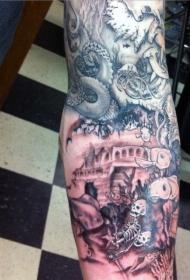 手臂水下骨骼与各种鱼类纹身图案