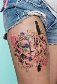 彩色半女人半虎纹身图案