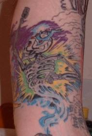 手臂彩色的骷髅架纹身图案