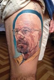 大腿彩色人物肖像纹身图案