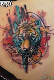 水彩风彩色老虎纹身图片