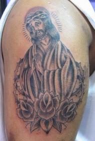 肩部经典黑白耶稣纹身图案