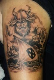 手臂北欧雷神纹身图案