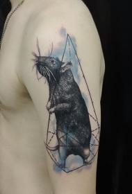 彩色肩膀现实主义风老鼠纹身图案