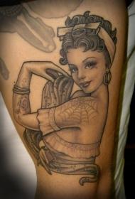 手臂可爱的黑灰色的封面女郎纹身图案