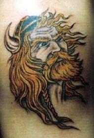 彩色维京金发战士纹身图案