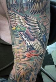 花臂彩色鸭在森林纹身图案