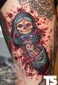 New School彩色骷髅头纹身图案