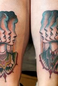 彩色个性女人侧脸纹身图案