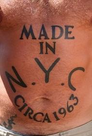 腹部黑色英文字母纹身图案