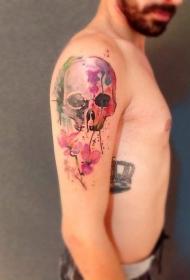 肩部水彩画的骷髅纹身图案