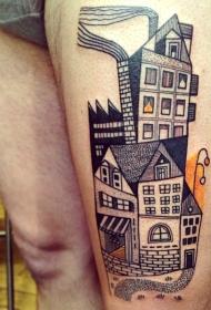 腿部彩色旧城市房屋纹身图案