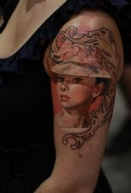 肩部彩色3D奥黛丽·赫本肖像纹身图案