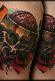 New School彩色大腿骷髅纹身图片