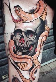 手臂New School彩色骷髅和蛇纹身图案