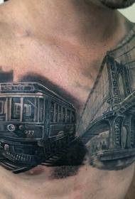 胸部彩色现实主义火车纹身图案