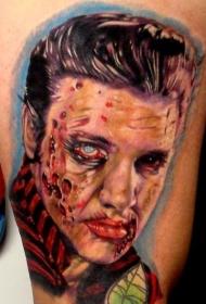 彩色血腥僵尸纹身图案