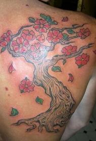 彩色樱花树纹身图案