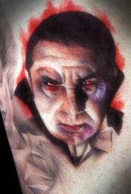 复古风格的彩色老吸血鬼纹身图案