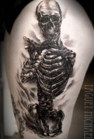 腿部黑灰骷髅架纹身图案