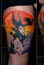 腿部典型卡通人物漫画英雄纹身图案
