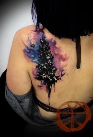 肩部水彩树纹身图案