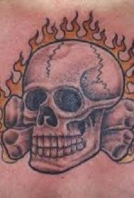 黑白燃烧的骷髅纹身图案