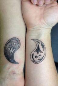 情侣手臂八卦纹身图案