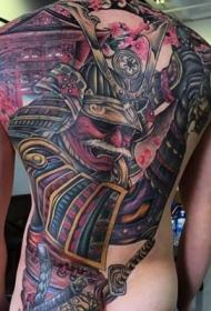 背部彩色大规模亚洲风武士纹身图案