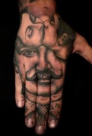 手部原始设计黑色肖像纹身图案