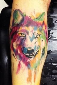 手臂水彩画的狼头纹身图案