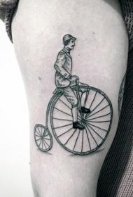 腿部复古风格的纹身图案